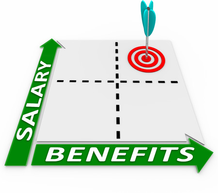 compensated: Salary and Benefits words on a matrix or chart measuring higher or lower compensation levels and giving you a choice of more or less perks vs pay or wages