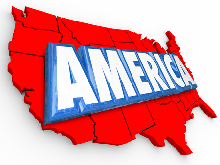 origin: America word in 3d letters on a map to illustrated USA or United States on a red, white and blue background