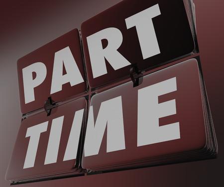 Teilzeit Worten auf einem Retro-Flipping Fliesen Uhr in Niedriglohn oder bezahlte Arbeit, Jobs oder Karriere und Menschen, die unterbeschäftigt basierend auf ihren Fähigkeiten oder Erfahrungen veranschaulichen, Standard-Bild