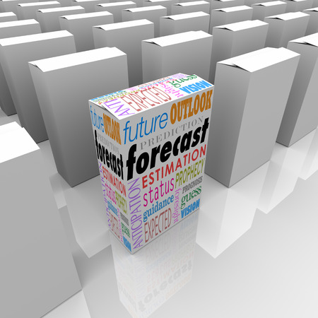 foresight: Forecast word on a unique product package or box on a shelf with many others, with special words outlook, prediction, forecast guidance and more Stock Photo