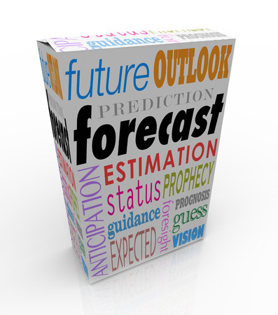predicted: Forecast and related words on a 3d product box or package, including anticipation, outlook, prediction and prognosis
