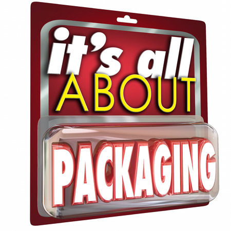 gimmick: Its All About Packaging words on a product blister pack or case to illustrate the concept that advertising and marketing of benefits and features is critical for business success Stock Photo