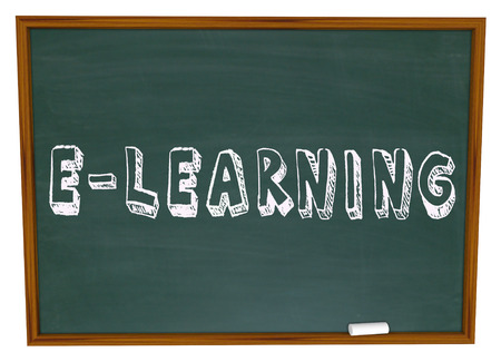 coursework: E-Learning words written or drawn on a chalkboard to illustrate web-based Internet or online education, learning and training