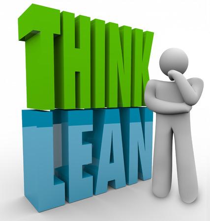 Denk Lean in 3d letters naast een persoon om te illustreren beheren of uitvoeren van een nieuwe of een startend bedrijf met een efficiënte en productieve principes