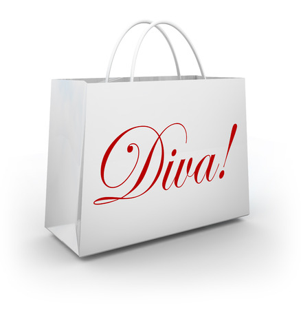 Diva word on shopping bag to illustrate a spoiled girl or princess buying clothes, jewelry or other material goods at a store on a spree