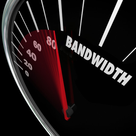 constraint: Bandwidth word on a speedometer Stock Photo