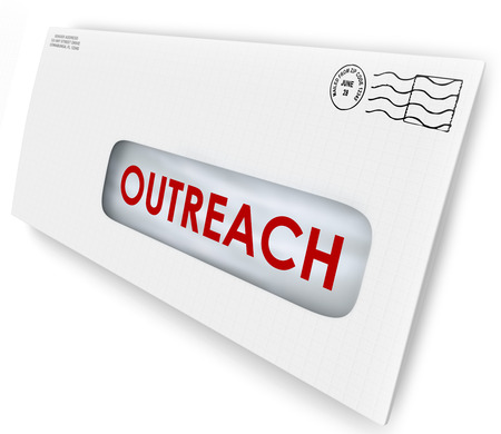 contributing: Outreach word on an envelope mailed to an audience to persuade with a message of advertising or communication