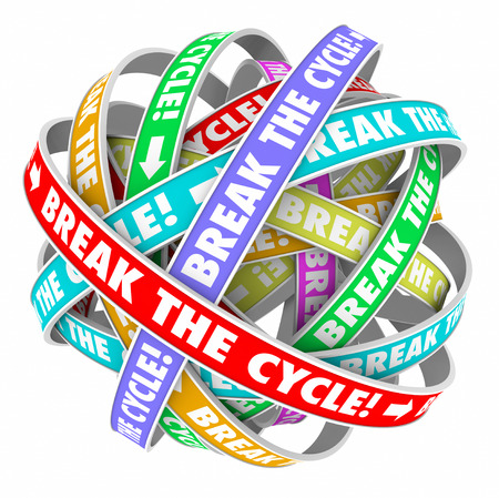 patter: Break the Cycle words on rings in an endless patter to illustrate ending or stoping a repetitive process or route