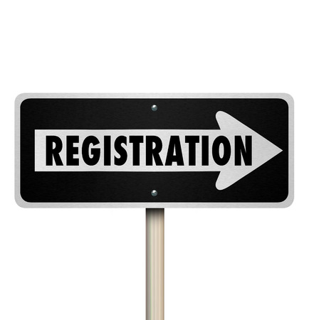enlisting: Registration word on one way road or street sign to illustrate marketing or advertising an event or subscription service Stock Photo