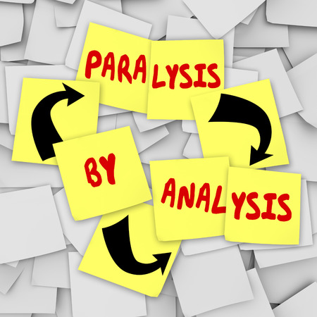 Paralysis by Analysis words on sticky notes to illustrate overthinking a problem in a committee or organization and not being able to reach a decision