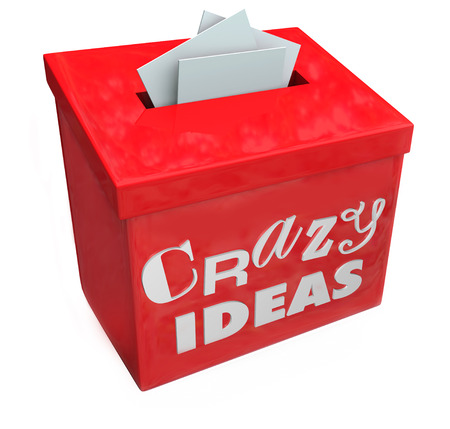 lunacy: Crazy Ideas words on a red suggestion box to submit your funny, irregular, abnormal, insane, impossible or impractical plans, brainstorms or thoughts Stock Photo