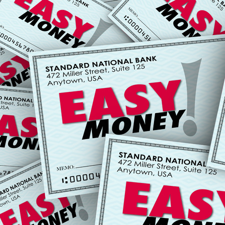earn more: Easy Money words on checks in a pile to illustrate fast, effortless payment or winnings adding to great riches or wealth