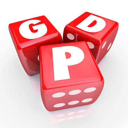 abbreviated: Gross Domesic Product GDP letters on three red dice to illustrate national production, manufacturing or output of goods and services to measure the size or value of a countrys economy