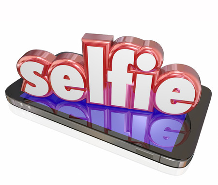 shared sharing: Selfie word in 3d red letters on a smart phone or digital camera to illustrate taking self portraits and posting them to social media websites Stock Photo