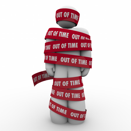 Out of Time on red tape wrapped around a man or person held hostage or prisoner past due on a deadline or countdown