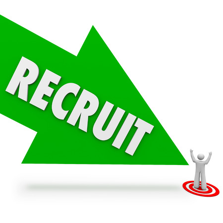 Recruit arrow pointing at the top or best job candidate who applied for the work opening and found by a recruitment firm