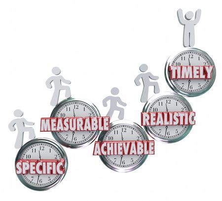 SMART acroniem of afkorting op klokken om doelen of doelstellingen die specifiek, meetbaar, ahievable, realistisch en tijdgebonden om succes te behalen zijn illustreren Stockfoto