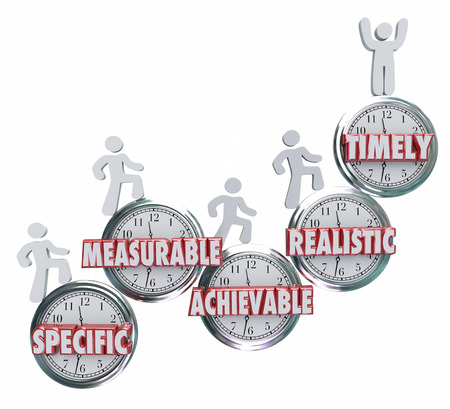 business goal: SMART acronym or abbreviation on clocks to illustrate goals or objectives that are specific, measurable, ahievable, realistic and timely to achieve success Stock Photo