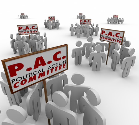 politics: PAC Political Action Committee words on signs and people gathered around as special interest groups lobbying or campaigning for candidates in elections
