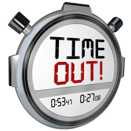 Time Out words on a stopwatch or timer to pause for a break or intermission in a game or competition