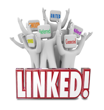 marketed: Linked word and people marketed Networked, Associated, Referred, United, Connected and Allied to illustrate connections in a professional group