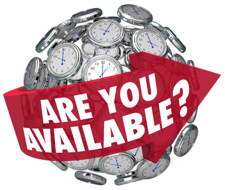 attainable: Are You Available question or meeting request on a red arrow around a sphere of clocks asking if you have time for a discussion Stock Photo