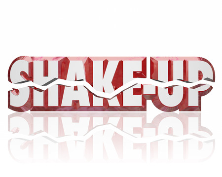 disrupting: Shake-Up words in broken 3d letters to illustrate a change, innovation or disruption in a group, company or business