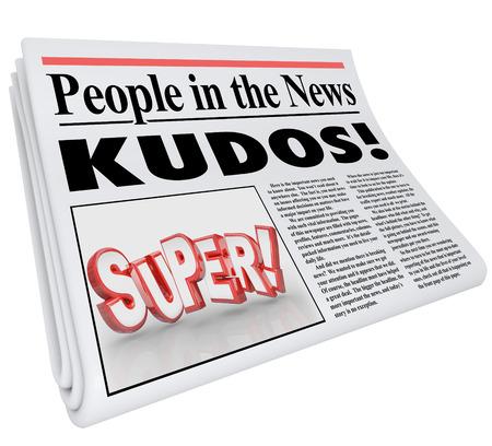 칭찬과 좋은 발표 또는 잘 된 일의 메시지로 뉴스 단어와 명성의 헤드 라인에있는 사람들 스톡 콘텐츠