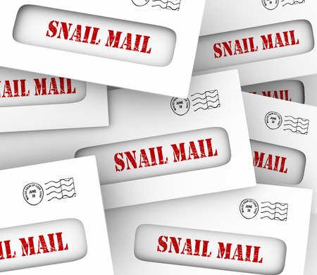 ineffective: Snail Mail words in envelopes to illustrate slow, old-fashioned traditional hand delivery of messages and communication