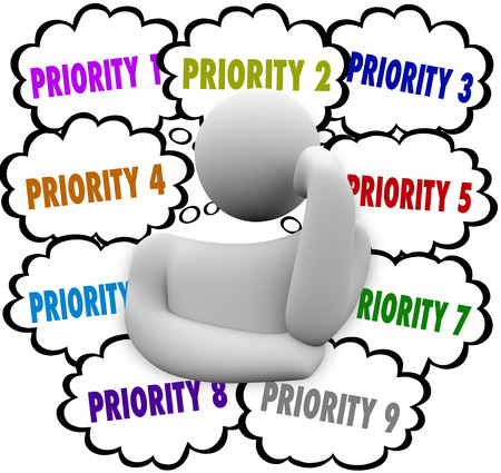 Priority words in thought clouds ordering most important and critical jobs and tasks in work Stockfoto