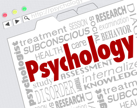 Psychology word on a website screen to illustrate online research for diagnosis or treatment of mental health condition, disease or disorder photo