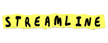 improved: Streamline word with letters written on sticky notes to illustrate productivity or efficiency improvements or increases in an office or workplace