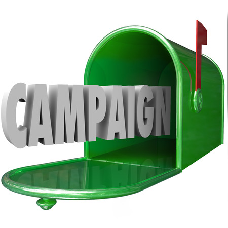 campaigns: Campaign 3d word in a green metal mailbox to illustrate advertising, marketing or political message or communication to customers, residents or voters