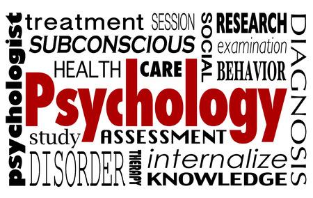 terapia psicologica: Palabra Psicolog�a en un collage de t�rminos relacionados como tratamiento, estudio, salud, terapia, sesi�n, la investigaci�n, el examen, la conducta, la evaluaci�n e internalizar Foto de archivo