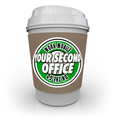 shoppe: Your Second Office words on a coffee cup to illustrate mobile work at a coffee shop or cafe and being productive and efficient