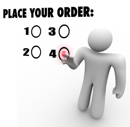 purchase: Place Your Order words on a touch screen and a customer choosing a selection to buy or purchase a preferred product or service