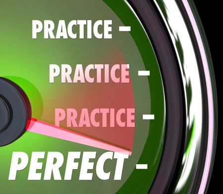 Practice word repeated on a speedometer or gauge and needle hitting word Perfect to illustrate improving your performance with constant practicing