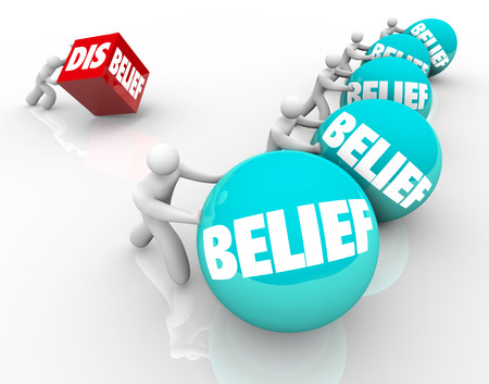 belief system: Man with disbelief fails or loses in race or life against other people with belief, confident in their faith or abilities and winning or succeeding