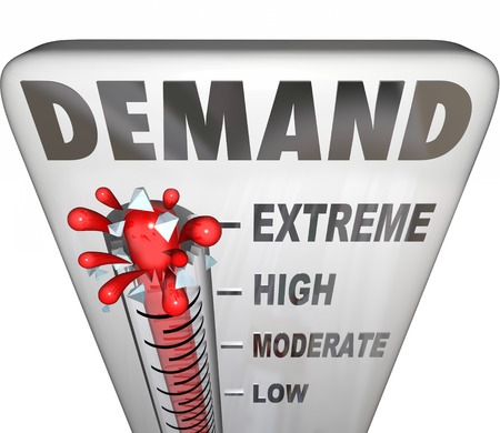 termómetro: Demanda palabra en un termómetro para medir el apoyo o la respuesta de los clientes a sus productos o servicios Foto de archivo