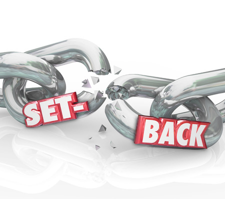 worse: Setback word in 3d red letters on breaking chain links to illustrate a negative outcome, setback or challenge in the way or completing your goal