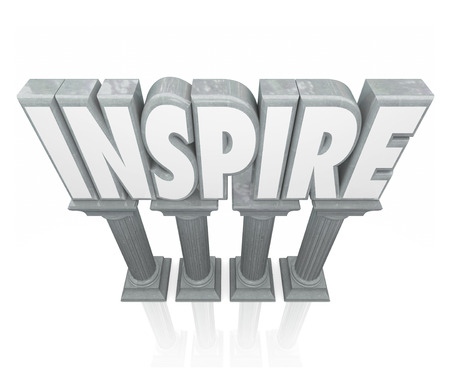 encouraged: Inspire word in 3d letters on stone or marble columns to illustrate motivation or encouragement to achieve a goal or success