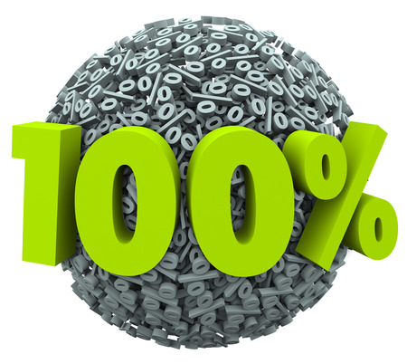 100 percent number and symbol on a ball of percentage signs to illustrate a complete or total job or goal achieved or a perfect score or rating