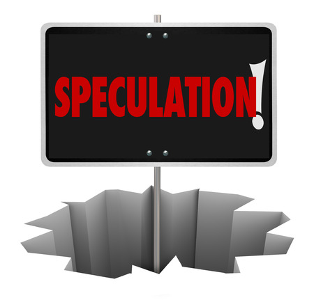 uneducated: Speculation word on a warning sign in a hole illustrating the danger of bad guesses, estimates or theories with limited information Stock Photo