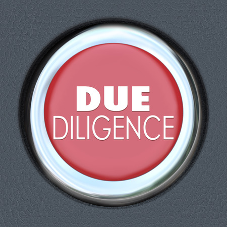 obligated: Due Diligence words on a red car start or ignition button to illustrate the importance of researching the facts behind a company before you buy or merge with it
