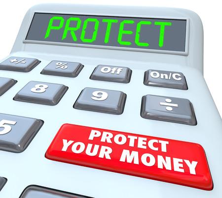 Proteggi i tuoi parole Denaro su una calcolatrice che mostra come investire o scudo vostre finanze in un paradiso fiscale e tenerlo al sicuro e protetto Archivio Fotografico