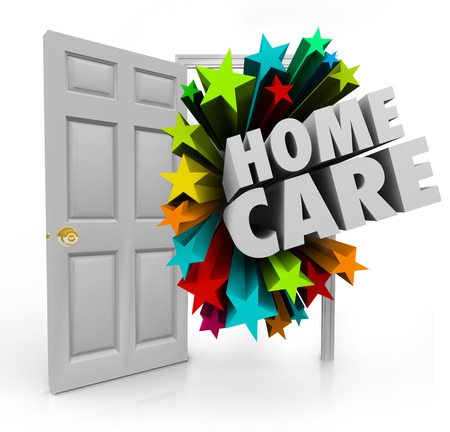 practitioners: Home Care words in an open door to illustrate house calls made by nurses, doctors or practitioners of physical therapy, medical treatment or other services