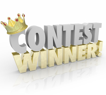 raffle: Contest Winner in 3d Words and Gold Crown on the letter C to illustrate a lucky recipient of a prize or jackpot in a raffle or lottery drawing