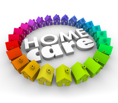 actividad fisica: Palabras Home Care en letras 3d rodeada de casas para ilustrar los servicios de salud para los pacientes permanecen en el hogar, como la terapia f�sica y de hospicio