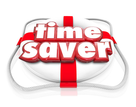 saving tips: Time Saver words in 3d letters on a life preserver to illustrate steps, tips and advice for increasing producitivity and improving efficiency in your life or business Stock Photo