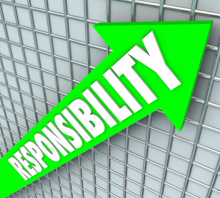 contracted: Responsibility word on a green arrow rising to symbolize accepting obligations, accountability and required action to fulfill agreement or promise Stock Photo